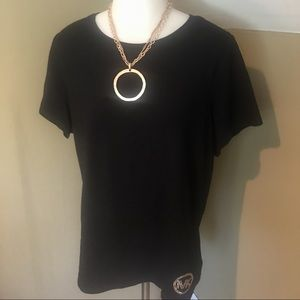 Michael Kors Women Blk Short Sleeve Plus Size Top